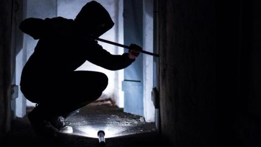 Ein fiktiver Einbrecher hebelt mit einem Brecheisen eine Tür auf.