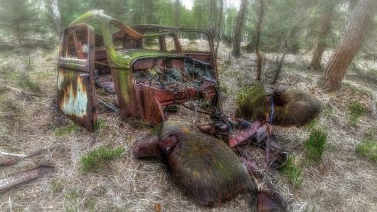 Stück für Stück erobert die Natur dieses seit Jahrzehnten im Wald vor sich hinrostende Auto.