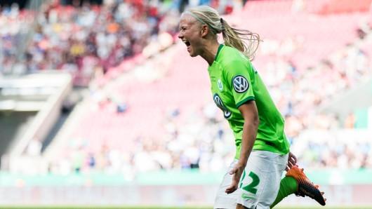 Pernille Harder rettete mit ihrem 3:2-Siegtreffer acht Minuten vor dem Abpfiff Platz eins für die Wölfinnen (Archivbild).