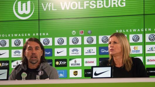 VfL-Trainer Martin Schmidt und Vereinssprecherin Barbara Ertel-Leicht.