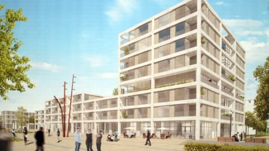 So soll das neue Quartier mit dem achtgeschossigen Turm spätestens ab 2020 aussehen.