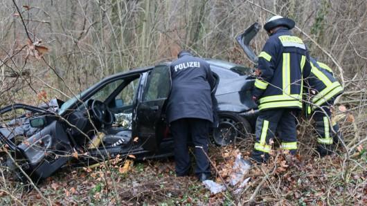 Ausflug in den Wald: Polizeibeamte und Feuerwehrleute inspizieren den verunglückten Wagen.
