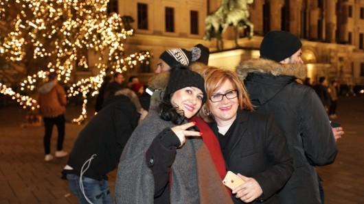 Zentraler Feier-Platz in Braunschweig um Mitternacht: der Schlossplatz.