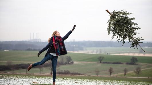 Alle Tannen fliegen hooooch: Die Weihnachtsbaum-Weitwurf-Challenge startet dieses Jahr zum zweiten Mal.