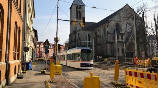 Straßenbahnhaltestelle Leonhardplatz in Richtung Innenstadt ab Montag gesperrt (Archivbild).