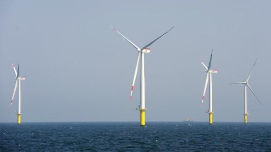 Der Offshore-Windenergiepark Riffgat, rund 10 Kilometer vor der ostfriesischen Insel Borkum.