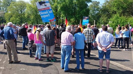 Knapp 100 Demonstranten haben sich am frühen Samstagnachmittag zur Veranstaltung der AfD eingefunden.