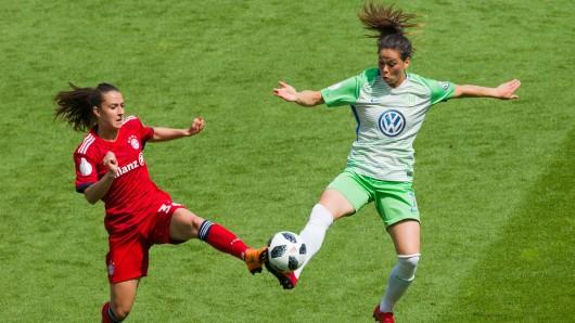 Ein Bild aus der vergangenen Saison: Sara Björk Gunnarsdottir (rechts) im Zweikampf mit ihrer Namensvetterin Sara Däbritz.
