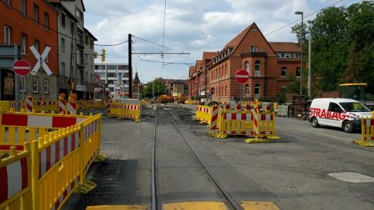 In der Helmstedter Straße kam es am Nachmittag zum Abriss der Oberleitung.