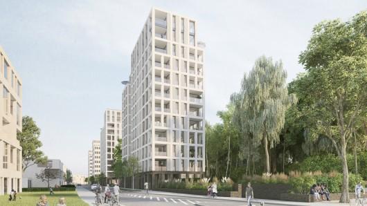 Die beiden exponierten Wohngebäude bilden künftig den westlichen Eingang ins neue Wohnquartier Hellwinkel Terrassen. Sie sind jeweils 12-geschossig.