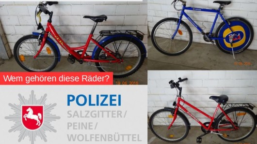 Diese drei Fahrräder wurden in der Westfalenstraße entdeckt. Die Polizei fragt: Wem gehören diese Räder?
