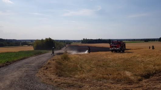 Insgesamt zwei Hektar Feld mussten die Einsatzkräfte löschen.