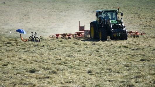 Ein roter Heuwender stand auf einem Feld in der Nähe von Sophiental. (Symbolbild)
