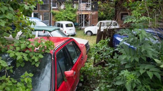 Beim Blick über den Zaun sind etliche abgemeldete Autos zu sehen - teilweise sogar richtige Oldtimer.
