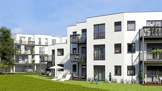 So sollen die zwei geplanten Mehrfamilienhäuser mit zusammen 21 Eigentumswohnungen einmal aussehen.
