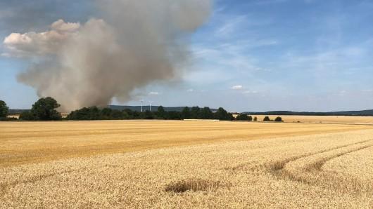 Schon von weitem fiel die mächtige Rauchwolke auf, die sich über einem brennenden 25-Hektar-Feld bei Bad Harzburg erhob.