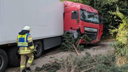 Der Fahrer dieses Lkw musste schwerverletzt ins Krankenhaus eingeliefert werden.