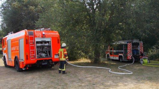 Auf dem Gelände der TU Braunschweig war es am Mittag zu einem Flächenbrand gekommen: Rund 500 Quadratmeter Unterholz standen in Flammen.