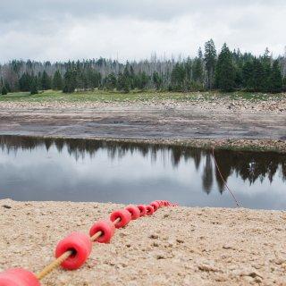 Der Oderteich Mitte August: Der normalerweise 1,7 Millionen Kubikmeter Wasser fassende Stausee ist praktisch ausgetrocknet.