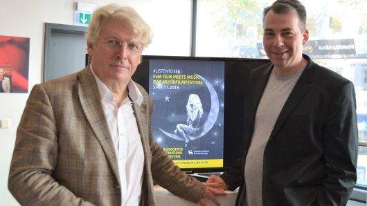 Der Orchesterdirektor Martin Weller (v.l.) und Festivaldirektor Michael P. Aust stellen das Programm des MusikFilmFestivals FxM: Film meets Music vor.
