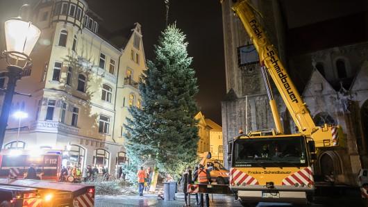 Die Mitarbeiter der Stadtverwaltung stellen den Baum auf dem Domplatz dieses Jahr tagsüber auf, anders als auf dem Bild aus dem Vorjahr.