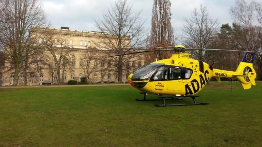 Kurzerhand hatte der Pilot den Hubschrauber im Theaterpark gelandet.