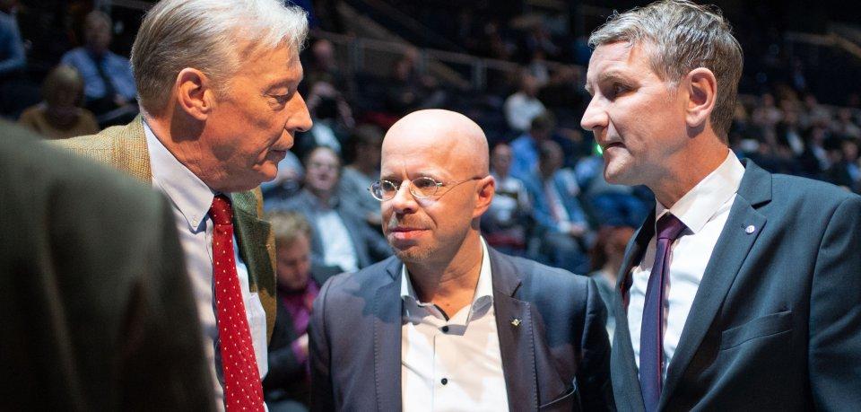 Der AfD-Bundestagsabgeordnete Armin-Paul Hampel (hier links) mit den damaligen Flügel-Vorsitzenden Andreas Kalbitz (Mitte) und Björn Höcke beim Bundesparteitag in Braunschweig. (Archivbild)