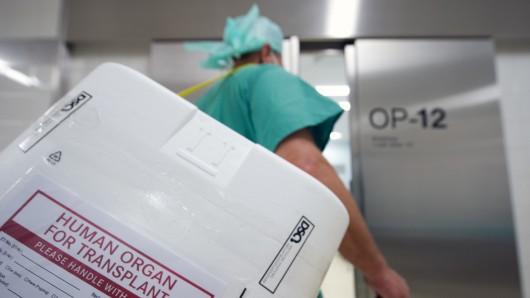 Ein Styropor-Behälter zum Transport von zur Transplantation vorgesehenen Organen wird am Eingang eines OP-Saales vorbei getragen. (Symbolbild)