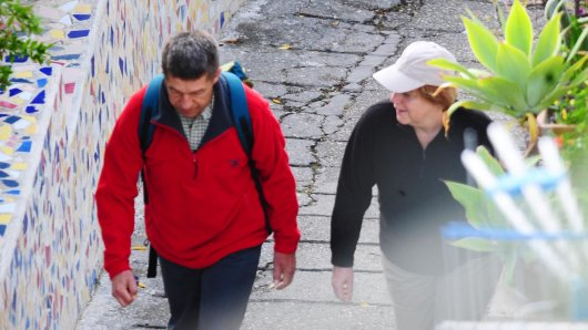 Angela Merkel privat: Hier bei einer Wanderung mit ihrem Ehemann Joachim Sauer.