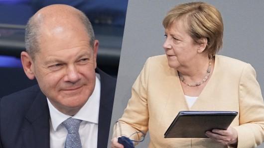 Olaf Scholz und Angela Merkel am 7. September im Bundestag. Beide hielten Reden.