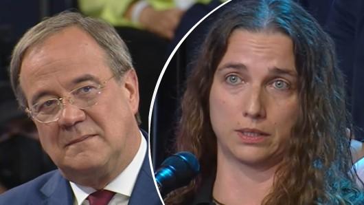 """Armin Laschet und doe Fragestellerin Christina Klitzsch-Eulenburg in der ZDF-Sendung """"Klartext, Herr Laschet!"""""""
