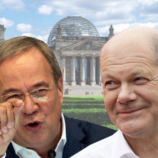 Enges Rennen zwischen den Kanzlerkandidaten Armin Laschet und Olaf Scholz.