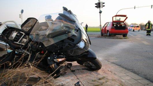 Bei einem Motorradunfall gab es eine schwerverletzte Person.