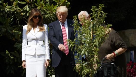 US-Präsident Donald Trump (2. von links), US-First Lady Melania Trump (links), Israels Präsident Reuven Rivlin und Israels First Lady Nechama Rivlin pflanzen im Garten der israelischen Präsidenten-Residenz in Jerusalem, Israel, einen Baum.