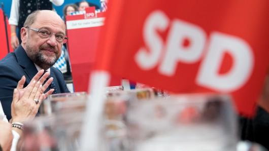 SPD-Kanzlerkandidat Martin Schulz bei einem Wahlkampfauftritt in Bayern.