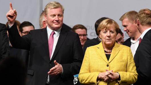 CDU-Landesvorsitzender Bernd Althusmann mit Bundeskanzlerin Angela Merkel (CDU).