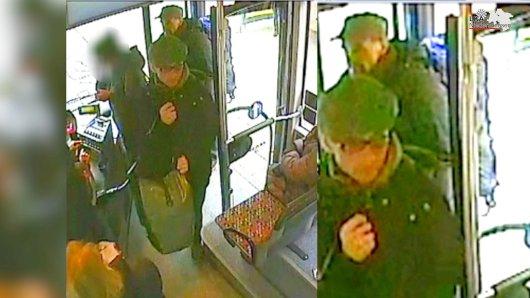 Die Bilder einer Überwachungskamera zeigen  die Ex-RAFTerroristen Burkhard Garweg (vorn) und Ernst-Volker-Staub (hinten), die am 02.01.2015 in Osnabrück (Niedersachsen) in einem Bus stehen.