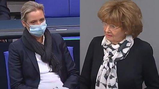 Alice Weidel schüttelt den Kopf, als die Holocaust-Überlebende Charlotte Knobloch über die AfD spricht.