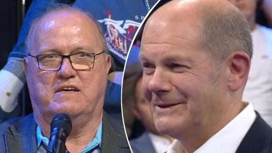 """Ein Rentner regte sich in der ZDF-Sendung """"Klartext"""" über die Sprach-Polizei auf. Olaf Scholz versuchte ihn zu beruhigen."""
