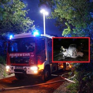 Nächtlicher Einsatz für die Feuerwehr Wolfenbüttel! Ein Auto stand lichterloh in Flammen.