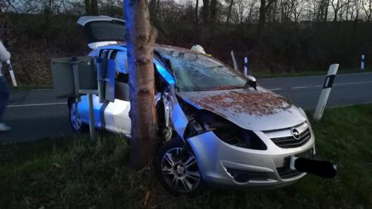 Der Wagen landete mit der Beifahrerseite am Baum.
